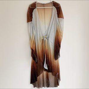 Zara sheer metallic dress/cover up